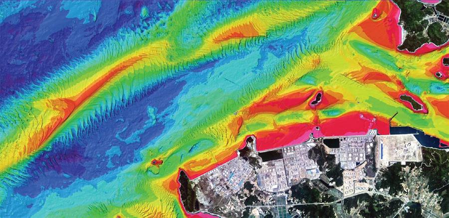 نتائج مسح طوبوغرافيا الأعماق المائية في المناطق الساحلية في دايسان (السفينة متعددة الحزم الإشعاعية